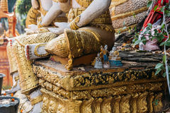 Asian Spirit Dolls Over Stone in Laos Temple at Vientiane, Laos Royalty Free Stock Photo