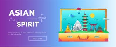 Asian Spirit - línea ejemplo del vector del jefe de la página web del viaje Fotografía de archivo