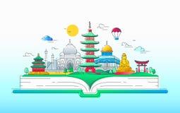 Asian Spirit - línea ejemplo del vector del viaje Imágenes de archivo libres de regalías