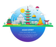 Asian Spirit - ligne illustration de vecteur de voyage illustration stock