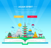 Asian Spirit - ligne illustration de vecteur de voyage illustration libre de droits