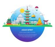 Asian Spirit - wektor linii podróży ilustracja Zdjęcia Royalty Free