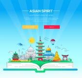 Asian Spirit - wektor linii podróży ilustracja Fotografia Stock