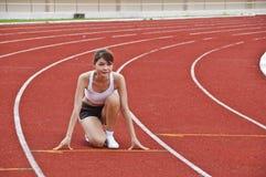 Asian sport girl exercising. Stock Photos