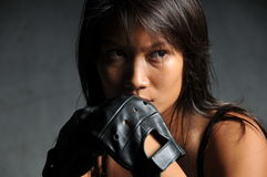 Asian Sports Woman in Boxing Pose Royalty Free Stock Images