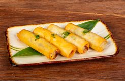 Asian spring roll. With seafood stock photo