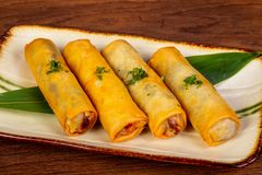 Asian spring roll. With seafood stock images