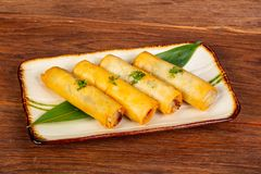 Asian spring roll. With seafood royalty free stock photos