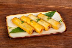 Asian spring roll. With seafood royalty free stock images
