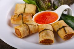 Asian spring roll. Traditional Asian spring roll with shrimps and vegetables stock photo