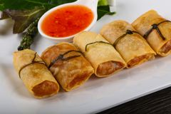 Asian spring roll. Traditional Asian spring roll with shrimps and vegetables royalty free stock photo