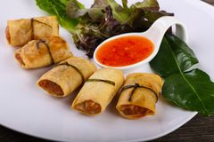 Asian spring roll. Traditional Asian spring roll with shrimps and vegetables royalty free stock images