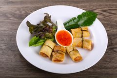 Asian spring roll. Traditional Asian spring roll with shrimps and vegetables stock images
