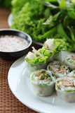Asian spring rolls, bean sprouts, peanut sauce. Fresh spring rolls with vegetable Stock Photo