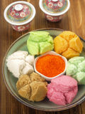 Asian steamed cakes. Delicious and colorful asian steamed cakes Stock Images