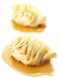 Asian steamed dumplings. Close up of a pair of asian steamd dumplings Stock Images