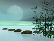Asian steps to the moon - 3D render Stock Images