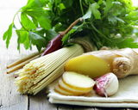Asian Still life -  noodles, ginger, garlic and chili Stock Photo