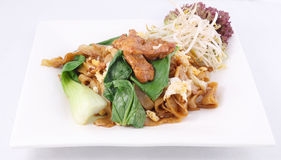 Asian stir fried flat rice noodles. Pad se ew with chicken. Stock Photos