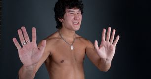 Asian stop hand Royalty Free Stock Image