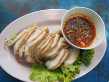 Asian street food. Baan-me  roasted pork with sauce thailand Stock Images
