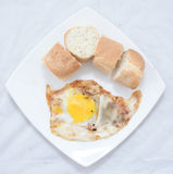 Asian street food dish. Fried egg bread spicy studio white background Stock Image