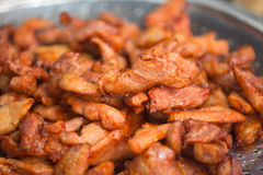 Cooked Pork seasoning deep fried. Stock Photo