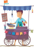 Asian Street Kitchen. The smiling young asian cook is preparing the tasty vegetarian rice on his outdoor mobile street kitchen. He is looking at camera. The stock illustration