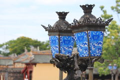 Asian Street Lamps. Beautiful old antique street lamps in Hue, Vietnam Royalty Free Stock Photography
