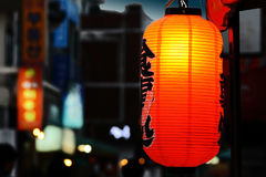 Asian street. At night with light on foreground Stock Images