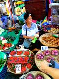 Asian street vendor selling fruits and vegetable in quiapo, manila, philippines in asia Stock Images