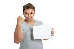 Asian strong man fist pump with blank sign Royalty Free Stock Photography