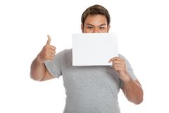 Asian strong man thumbs up show a blank sign Stock Image