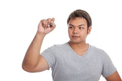 Asian strong man write in the air Stock Image