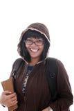 Asian student. Smiling on white background holding books Royalty Free Stock Photo