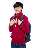 Asian student with backpack Royalty Free Stock Photography