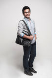 Asian Student with bag 2 Stock Photo
