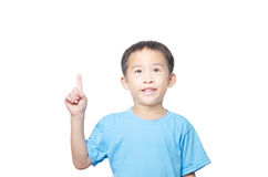 Asian student boy has idea Royalty Free Stock Photography