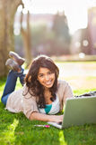 Asian student on campus Stock Image