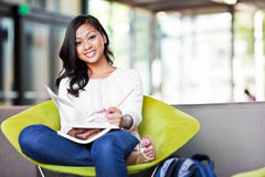 Asian student on campus Royalty Free Stock Images