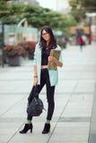 Asian student girl city portrait. royalty free stock photos