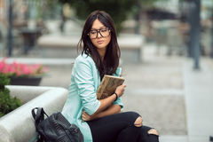 Asian student girl city portrait. Stock Image