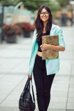 Asian student girl city portrait. Royalty Free Stock Image