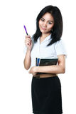 Asian student girl. With pen, Isolated over white Royalty Free Stock Images