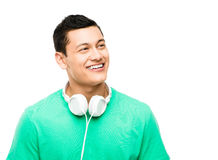 Asian student with headphones. Happy young Asian student with headphones Stock Photo