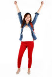 Asian student jumping Royalty Free Stock Images