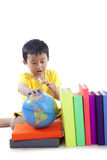 Asian Student Learns Geography Stock Photo