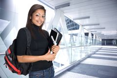 Asian student in a modern environment stock image