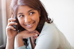 Asian student on the phone Royalty Free Stock Images