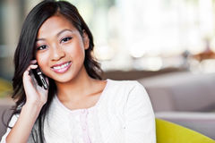 Asian student on the phone Stock Images